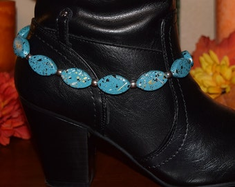 Boot Anklet with Turquoise Resin Beads