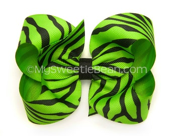 "Apple Green Zebra Hair Bow, 4 inch Animal Print Bow, Bright Green Zebra Bow, 4"" Boutique Bow, No Slip Hair Bow, Baby Toddler Girls"