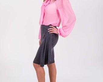 Pink chiffon blouse with bow long sleeve secretary blouse