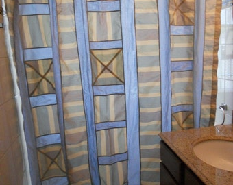 """Blue shower curtain, patchwork shower curtain, 72"""" x 72"""", ready to ship"""