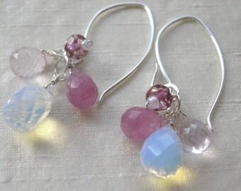 Pink earrings, Opalite earrings, Rose Quartz earrings, gift for her, dangle earrings, pink jewelry, bridesmaid earrings, bridal Silver