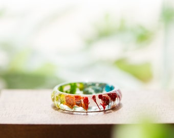 Real Flower Ring - Rainbow Gyp, Botanical Jewellery , Baby's Breath, Pressed Flower Ring , Nature Jewellery , Handcrafted Ring