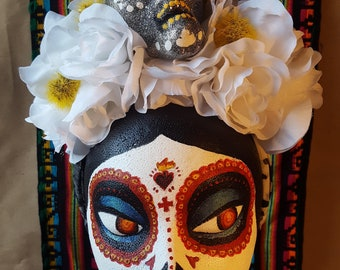 Dia de los Muertos Flower Crown - White with Skull