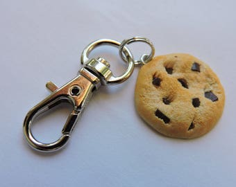 Chocolate chip cookie charm  Backpack clip  zipper charm  keychain swivel clip   birthday charm   miniature food Handbag Charm. Gift Boxed.