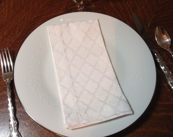 Handmade Cloth Dinner Napkins,  Cotton Napkins, Set  of 4 Napkins, White on White Napkins , Dinner Napkins,  White Napkins