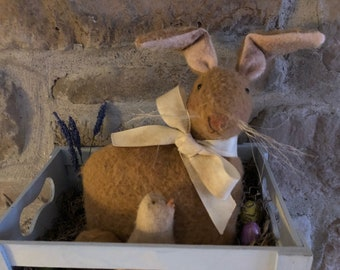 Primitive Bunny and Chick Easter Dolls