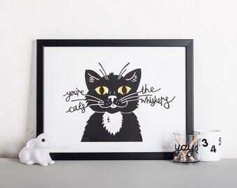 Black Cat Screen Print, Modern Wall Art, Monochrome Screen Print, Affordable art, Mad Cat lady gift, Housewarming present, Living room art,