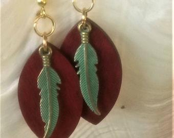 Earrings Wooden earrings Feather earrings Dangle & Drop earrings Free shipping