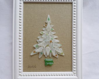 Christmas tree, Seaglass Christmas tree, Christmas decoration, multicolored christmas balls, White christmas, Frosted white sea glass.