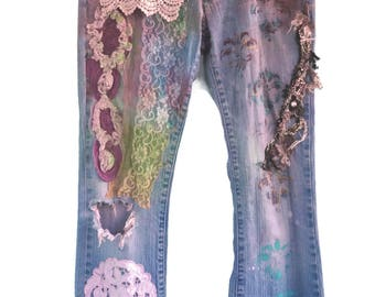 Hand-dyed, Embellished Jeans for Women, Size 6, Straight, Shabby Chic Jeans, Boho Style Jeans, Gypsy Style, Boho Chic