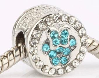 Minnie Mouse Aqua Rhinestone Crystal European Bead      AQ67