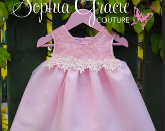 Baby Girl Flower Girl Dress, Pink Lace, Satin & Tulle Flower Girl Dress, Special Occasion Baby Dress