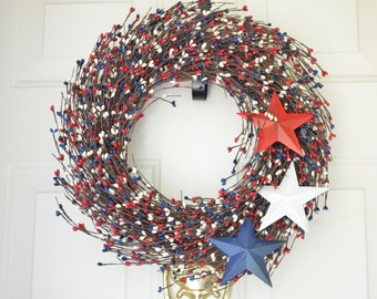 Fourth of July Patriotic Red, White & Blue Wreath