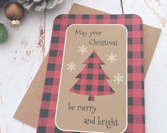Red Buffalo plaid - Merry & Bright - Holiday cards - A6 sets - Blank greeting cards - Rustic Christmas - Christmas tree - Recycled paper