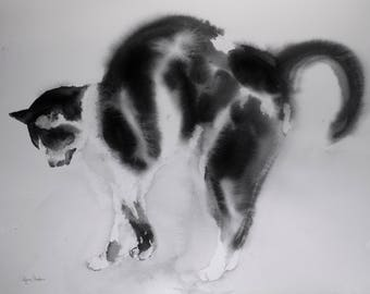 Tuxedo cat -original watercolor cat painting, gift for cat lover