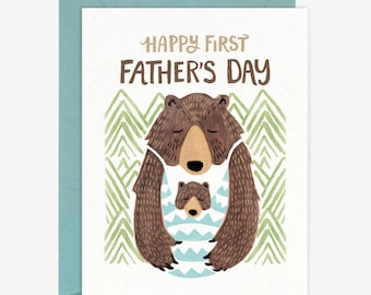 Happy First Father's Day Card // Papa Bear Baby Hand Lettering Sweet Whimsical Modern Watercolor Drawing Nature Woodland Quirky Paper Pony
