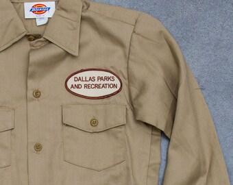 Dallas Parks and Recreation Patch Shirt Vintage Tan Khaki Dickies Boys Men's Shirt Size XS Mens Kids Unisex Texas Style 7W