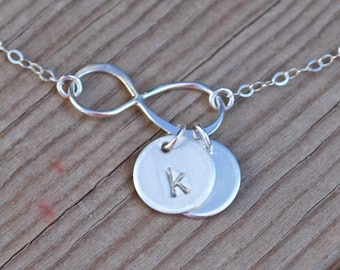 Infinity with initial necklace, infinity initial necklace, infinity necklace, initial necklace, sterling silver infinity initial, gift