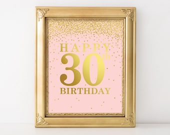 30th Birthday for Her, Happy 30th Birthday, Set of 2 Printables, 30th birthday decor, Birthday party decorations, birthday centerpiece