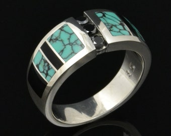 Ladies black diamond ring inlaid with spiderweb turquoise and onyx by Hileman Silver Jewelry