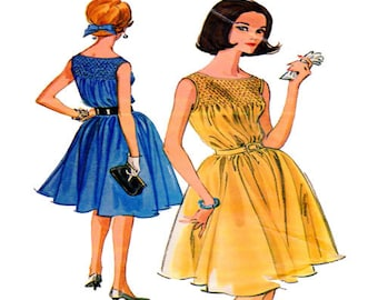 """McCalls 6614 Rare 1960s Vintage Mad Men Style  Womens Sewing Pattern Sleeveless Smocked Bodice Knee Length Full Skirt Size 14 Bust 34"""""""