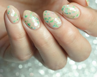 Merman - custom glitter topper pastel green aqua pink white nail polish