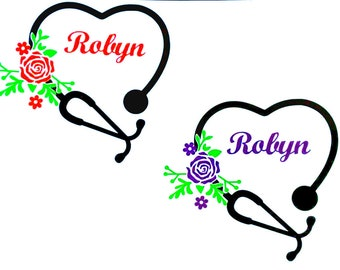 Heart Nurse Stethoscope Decal, Name Decal For Yeti Car, Nurse Gift - You Choose Color, Size and Name - Water Bottle Decal - Tumbler Sticker