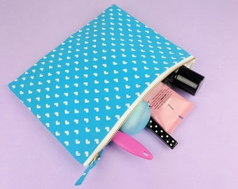 Heart Print Blue Pencil Bag or Small Cosmetic Case Blue Travel Make Up Bag Zipper Pouch