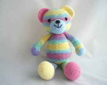 Crochet Teddy Bear / Amigurumi Teddy Bear / Crochet Rainbow Teddy Bear /  Hand Made / Soft and Cuddly Teddy Bear / Crochet Plush Teddy.