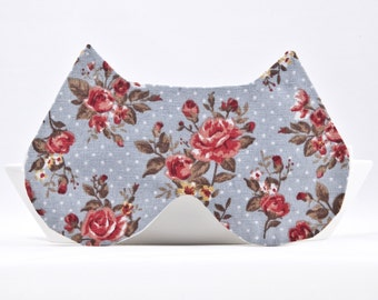 Sleep Mask, Blue Bridesmaid Gift, Floral Sleeping Mask, Cat Lover Gift, New Mom Gift, Floral Sleepwear Gifts for Women, Blue Cat Ears
