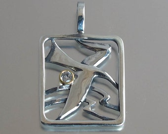 SEAGULL silver pendant with 14K gold & white sapphire