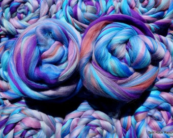 Purple Rollerbird - Merino Custom Blend - 4 oz - Spin, Felt, Fiber Art - Blues, Purples, Magenta, Salmon - Combed Top