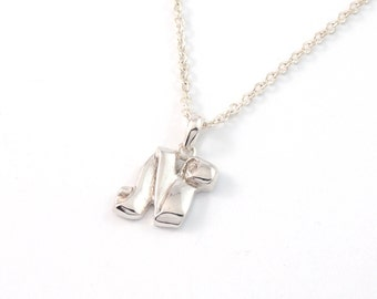 """Ribbon Font - """"New Edwardian"""" Letter Initial Name Monogram pendant necklace - A-Z & 0-9 - polished and oxidized sterling silver"""