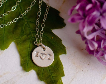 Couples Necklace - Two Initial Necklace with a Heart - Love Necklace - Tiny Silver initial Necklace