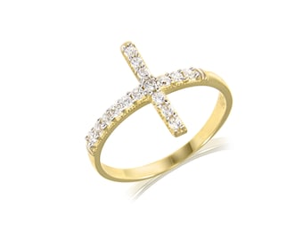 10K Solid Yellow Gold Cubic Zirconia Sideways Cross Ring - Polished Finger Band