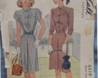 Vintage (1945) McCall 6319 Misses' Sz 12 (30/25/33) Dress Pattern