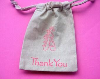 Ballerina Muslin Bags / Set of 10 / Birthday Party Favor Bag