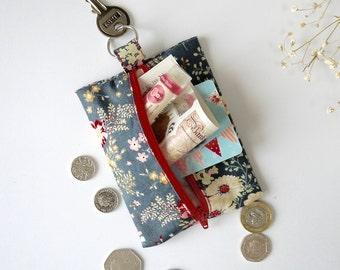 Shabby Chic Zipper Pouch | Blue Change Purse | Vintage Floral Coin Purse | Zipper Fabric Pouch | Blue Coin Purse | Coin Zip Purse
