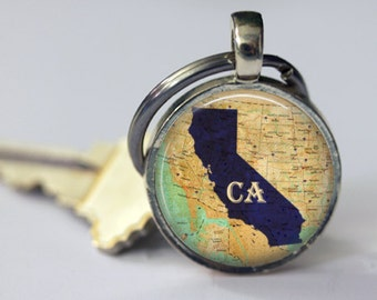 Personalized Custom State Map Pendant, Necklace or Key Chain - Choice of 4 Bezel Colors - Custom Map