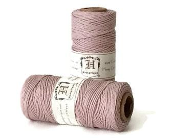 Hemp Cord, Powder Pink, 1mm, Macrame Hemp Twine, Gift Tag String, Colored Hemp Craft Cord, Bead Cord