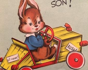 Vintage Birthday Card Race Car Kitsch Vintage Bunny Big Wheels Son
