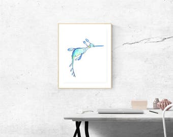 Seahorse illustration Original A5