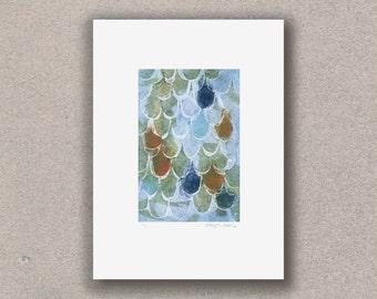Exclusive Handmade Original Mermaid Fish Scale Mono Print | Fathers Day | Dragon | Blue Green Orange | Bathroom | Fishing | Snowtap
