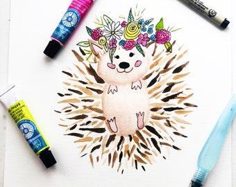 Watercolor hedgehog art