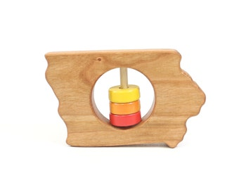 Iowa State Baby Rattle™ - State of Iowa Wooden Organic Rattle Toy