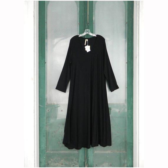 Comfy Long-Sleeve Diagonal Seam Dress -1X- Modal/Spandex Stretchy Soft Jersey NWT