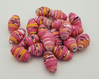 Pink Yellow Black | Paper beads | Paper Bead Jewelry | Recycled Upcycled | Loose Paper Beads | Jewelry Supplies | Beading Supplies | Bicone