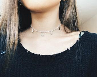 silver hanging star choker