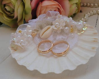 Beach Wedding Ring Bearer Seashell Ring Holder Coastal