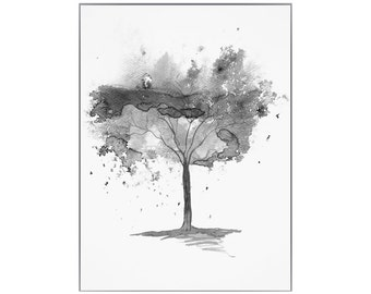 Fine Art Print of Black & White Abstract Watercolour Tree Painting - available in sizes 7 x 5, 10 x 8, 12 x 10, 14 x 11, 16 x 12 and 20 x 16